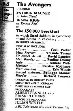 TV Times listing for The £50,000 Breakfast.