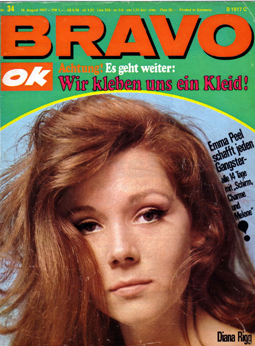 Diana Rigg on August 67 cover of German magazine, Bravo.