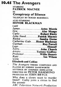 TV Times listing for Conspiracy of Silence.