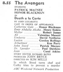 TV Times listing for Death a la Carte.