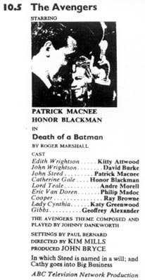 TV Times listing for Death Of A Batman