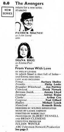 TV Times listing for From Venus With Love.
