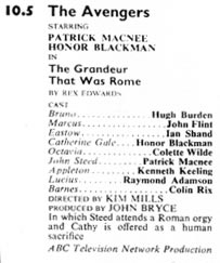 TV Times listing for The Grandeur That Was Rome.