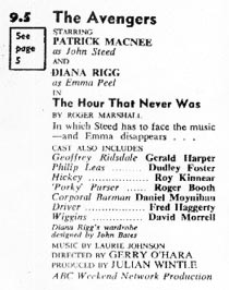 TV Times listing for The Hour That Never Was.