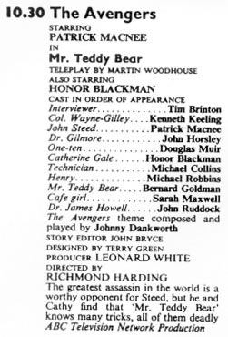 TV Times listing for Mr. Teddy Bear