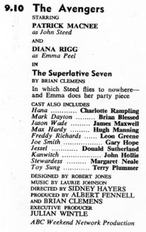 TV Times listing for The Superlative Seven.