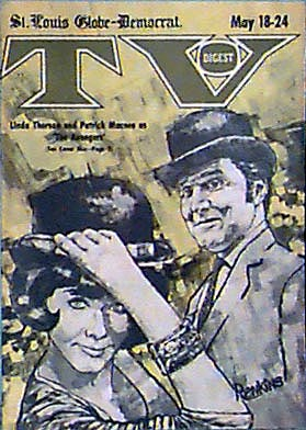 Graphic of Linda Thorson and Patrick Macnee on the cover of TV DIgest, USA, in 1968.