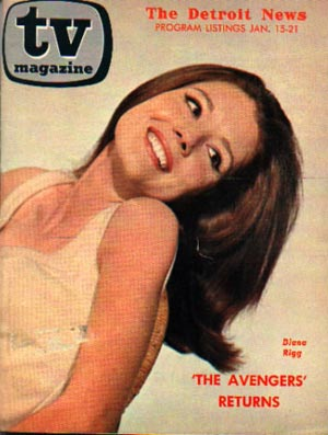 Diana Rigg on the cover of The Detroit News TV Magazine, Jan 67.