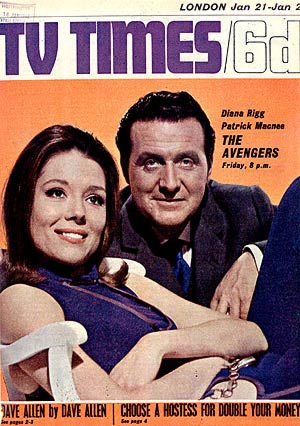 Diana Rigg and Patrick Macnee on the cover of the TV Times, January 67.