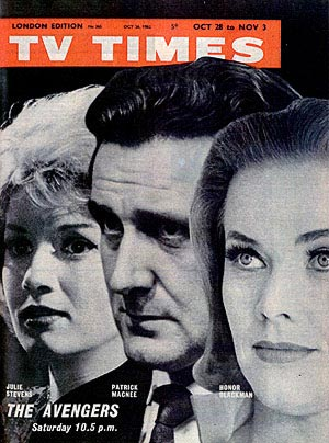 Julie Stevens, Patrick Macnee and Honor Blackman on the cover of TV Times, October 62.