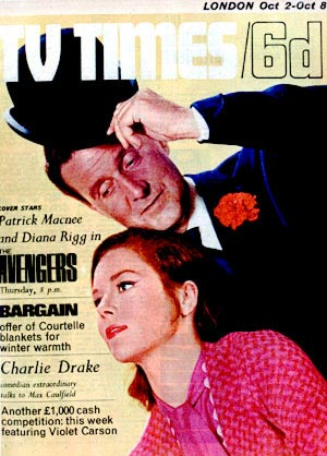 Patrick Macnee and Diana Rigg on the cover of TV Times, October 65.