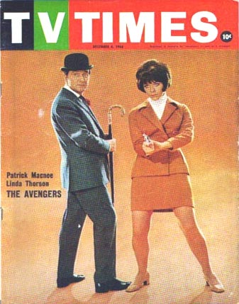 Patrick Macnee and Linda Thorson on the cover of the Australian TV Times, November 68.