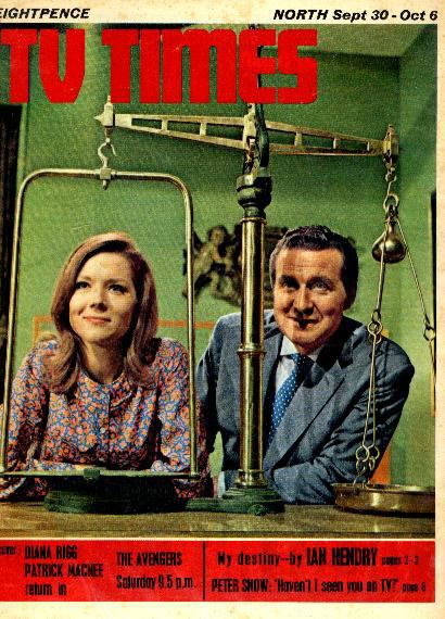 Diana Rigg and Patrick Macnee on the cover of The TV Times, September 67,