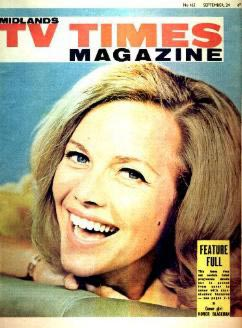 Honor Blackman on the cover of  TV Times Magazine, September 64.