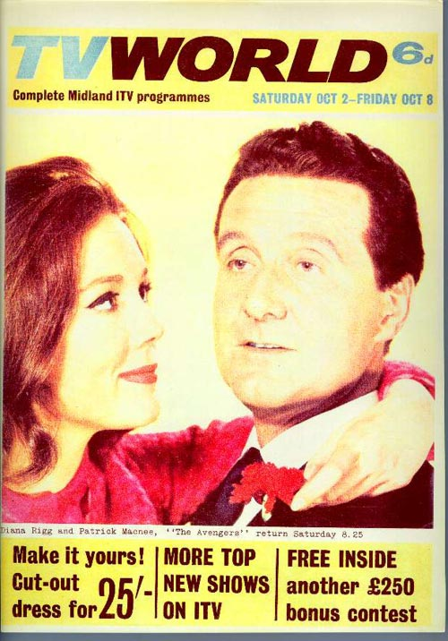 Diana Rigg and Patrick Macnee on the cover of TV World September 65.