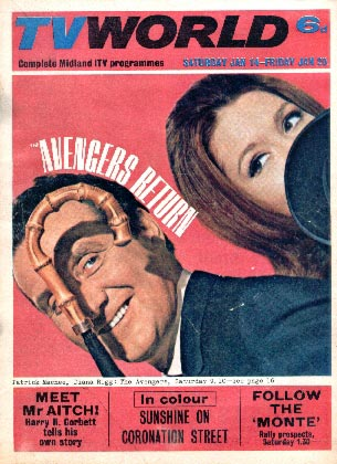 Patrick Macnee and Diana Rigg on the cover of TV World January 67.