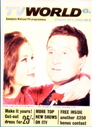 Patrick Macnee and Diana Rigg on the cover of TV World September 65.