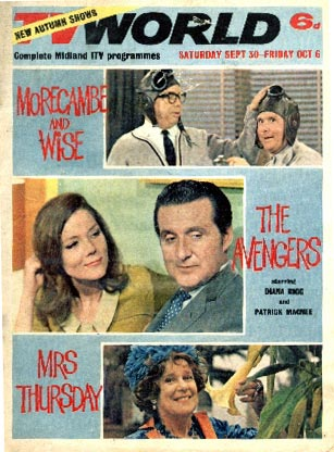Diana Rigg and Patrick Macnee on the cover of TV World September 67.