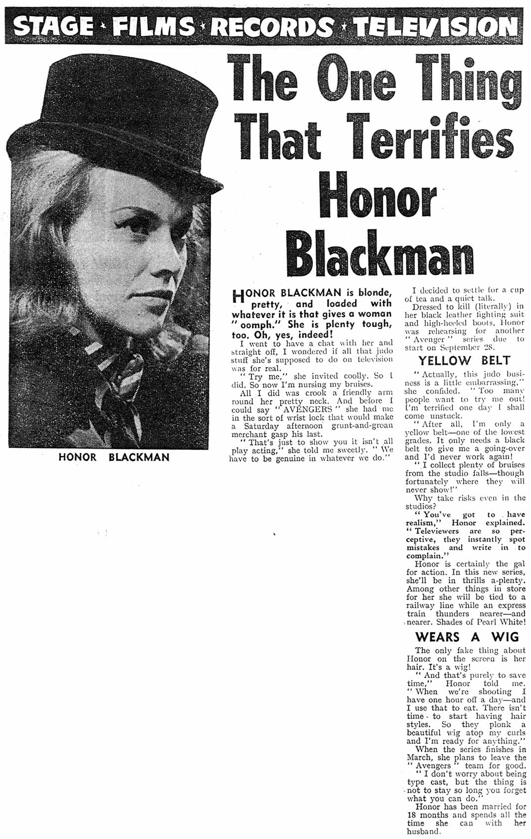 Interview with Honor Blackman from 1963
