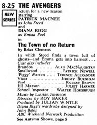 TV World listing for The Town Of No Return.
