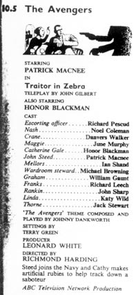 TV Times listing for Traitor In Zebra