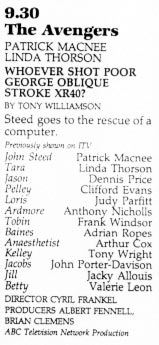 TV Times listing for Whoever Shot Poor George Oblique Stroke XR40?
