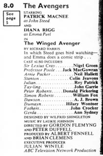 TV Times listing for The Winged Avenger.