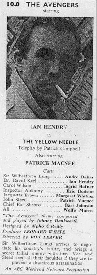 TV Times listing for The Yellow Needle.