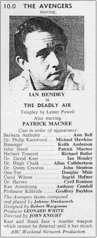 TV Times listing for The Deadly Air: Granada Region.