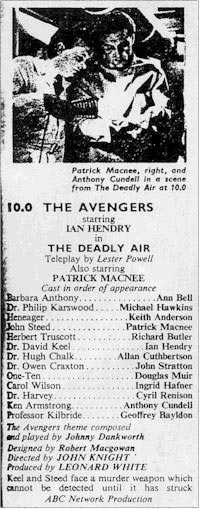 TV Times listing for The Deadly Air: London Region.