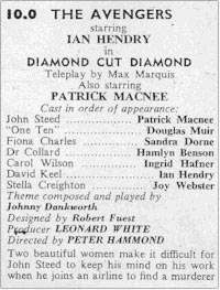 TV Times listing for Diamond Cut Diamond.