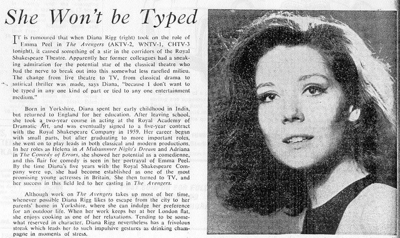 Diana Rigg article from New Zealand Listener, February 66