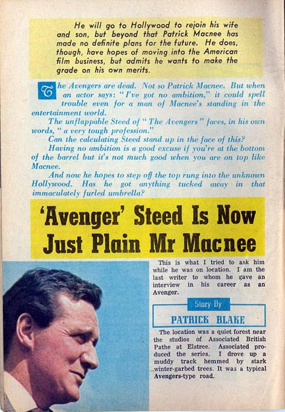 TV Weekly - 1969 Patrick Macnee interview - page one