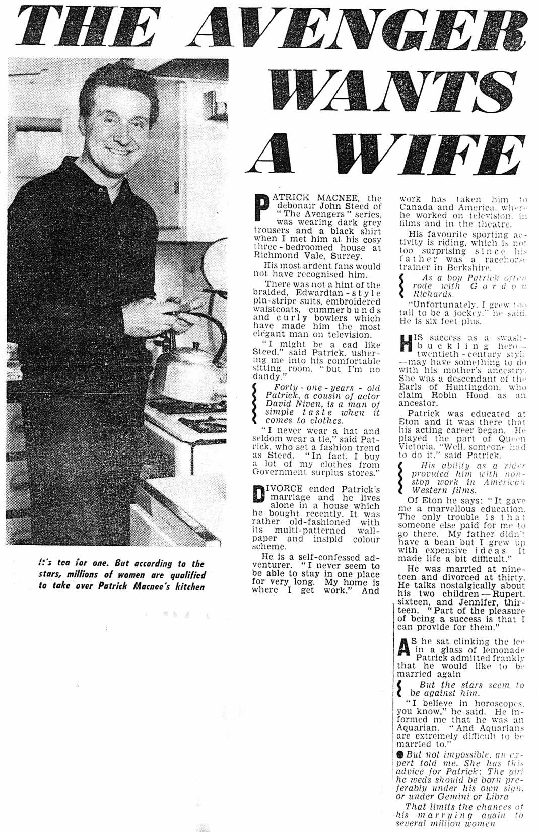 Piece on Patrick Macnee from Reveille