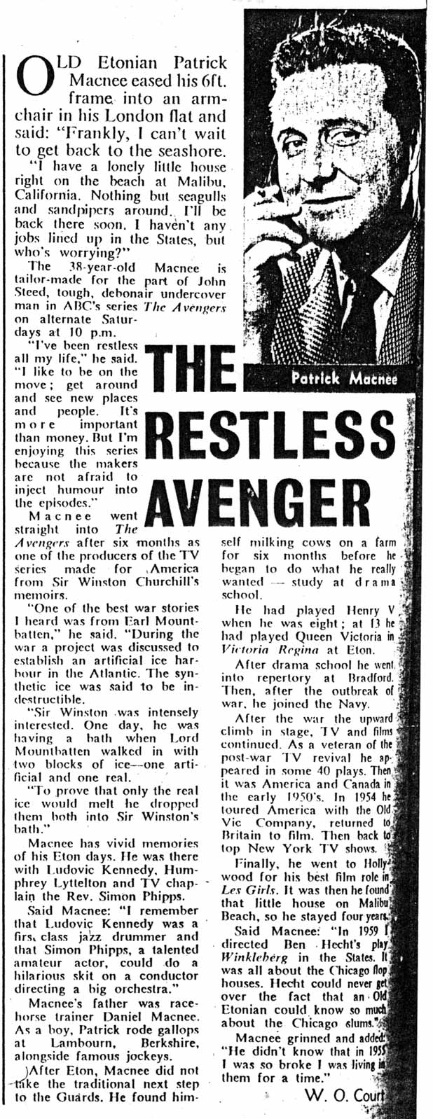Patrick Macnee interview from TV Times 1961