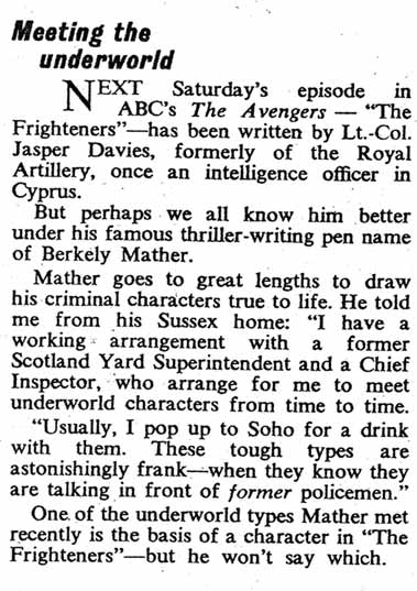 Clipping from TV Times about The Avengers